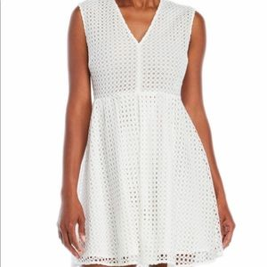 Sandro White Eyelet Fit and Flare Dress